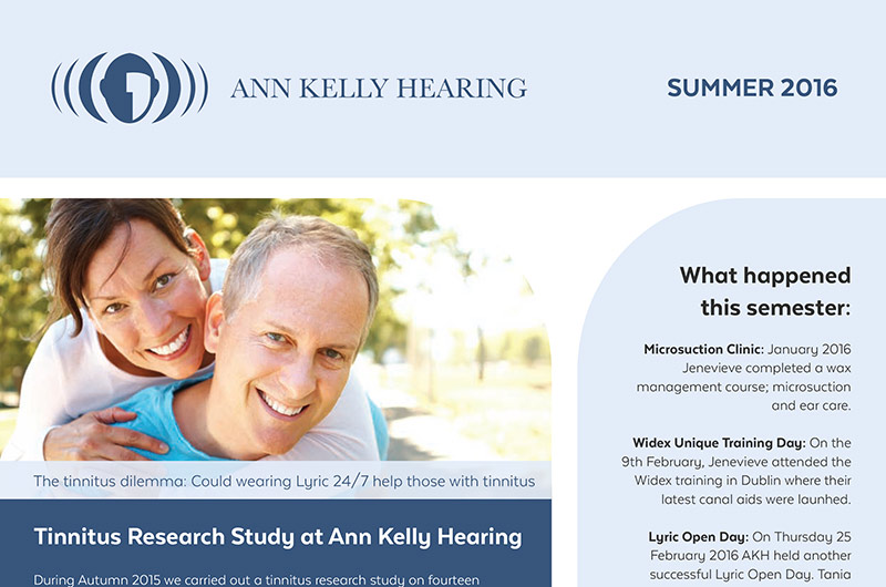 Kelly Hearing Summer Newsletter - find out more about our Tinnitus research